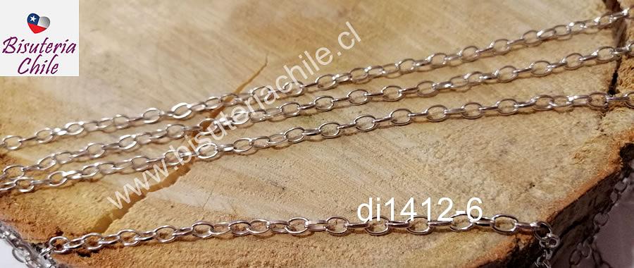 Cadena plateada, 4 x 3 mm, por metro