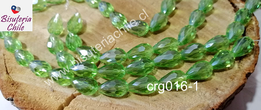 Cristal en forma de gota, color verde claro, 15mm por 12 mm, set de 12 unidades