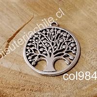 Colgante plateado con árbol de la vida, 34 mm de diámetro, por unidad