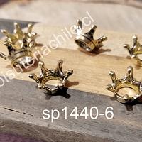 Separador en forma de corona dorada 6 x 8 mm, set de 6 unidades