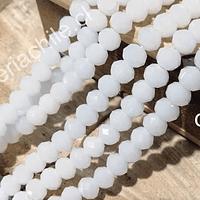 cristal facetado blanco piedra luna de 8 mm, tira de 70 cristales aprox.