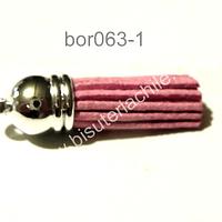 Borla rosada base plateado 40 mm de ancho