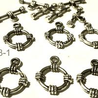 Broche timón plateado, 15 mm de diámetro, set de 5 unidades