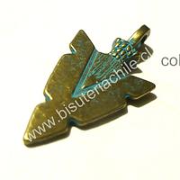 Colgante envejecido con toques color turquesa, en forma de flecha, 30 mm de largo por 15 mm de ancho, por unidad
