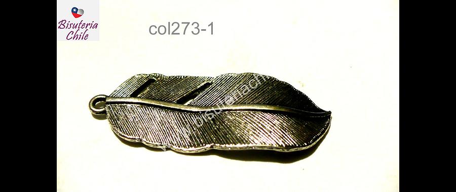 Colgante plateado en forma de pluma, 45 mm de largo por 17 mm de ancho, por unidad