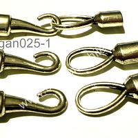 Broche tipo gancho plateado, 28 mm de largo cada parte, agujero de  5 mm, set de 3 juegos