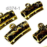 Separador dorado con argolla para dije, 21 mm de largo 8 mm de ancho agujero de 4 mm