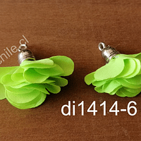 Borla flor verde fosforescente, base plateado, 24 mm de largo, por par