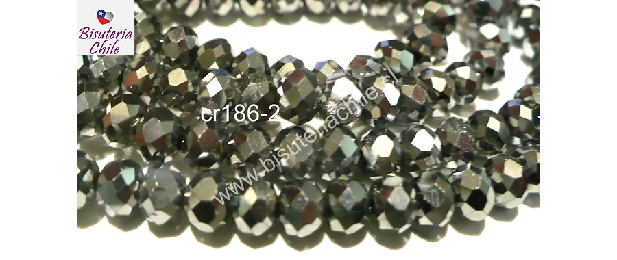 cristal plateado brillante 6 mm, tira de 100 cristales aprox