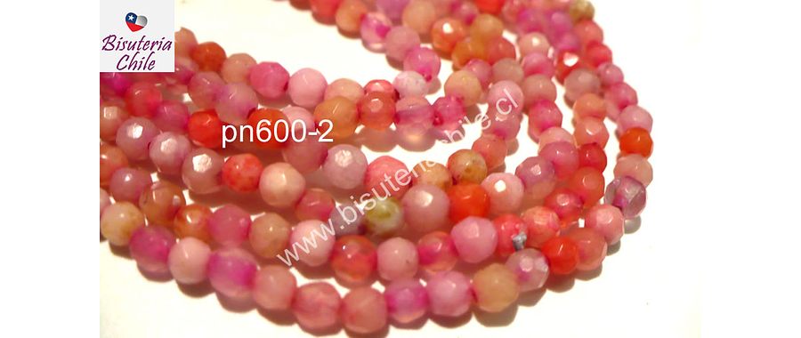 Agatas, Agata 4 mm en tonos rosados y sandias, tira de 90 piedras aprox.