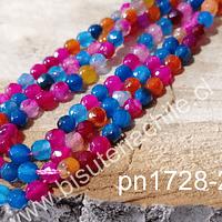 Ágata en tonos azules, rosados y naranjos de 4 mm, tira de 93 piedras aprox.