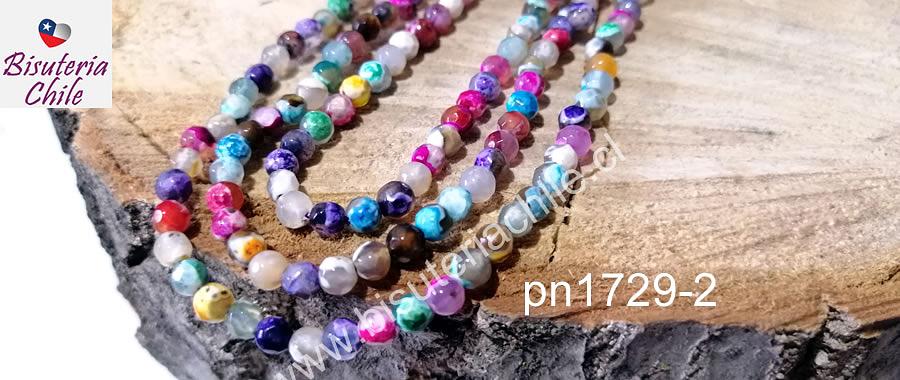 Ágata en jaspeada multicolor de 4 mm, tira de 93 piedras aprox.