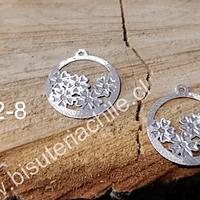 Dije baño de plata con flores, 18 mm de diámetro, por par