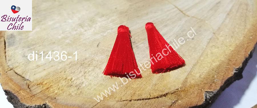 Borla de seda  chica color rojo, 4,2 cm de largo , por par