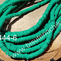 Tira de cuentas de goma, verde, 4 mm de diámetro, tira de 42 cm de largo aprox