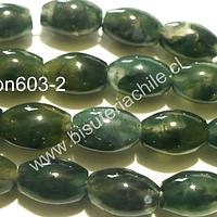 Agata Moss, 12 mm de largo x 8 mm de ancho aprox, tira de 15 piedras