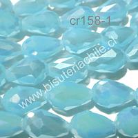 Cristal gota celeste, 12 mm de largo x 8 mm de ancho, set de 15 unidades