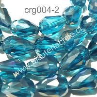 Cristal gota calipso, 12 mm de largo por 8 mm de ancho, set de 15 unidades aprox