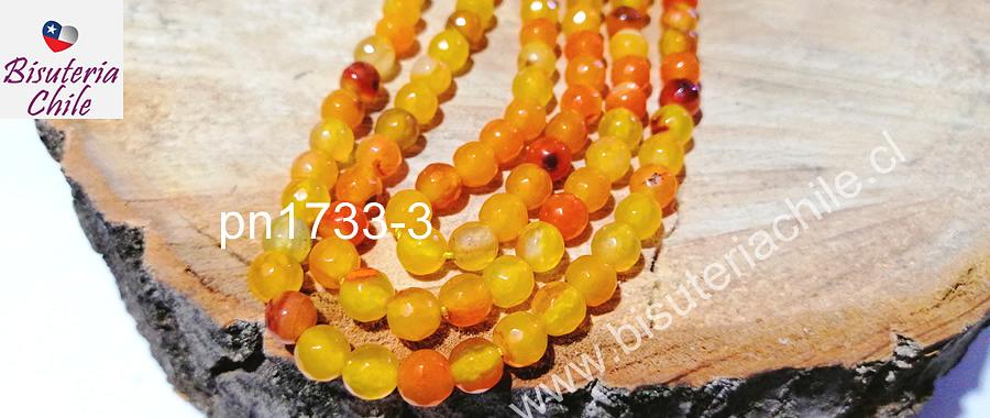 Agatas, Agata naranja de 6 mm, en tono verde tira de 63 piedras aprox