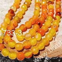 Agata naranja de 6 mm, en tono verde tira de 63 piedras aprox
