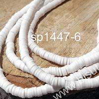 Tira de cuentas de goma blanca, 4 mm de diámetro, tira de 42 cm de largo aprox