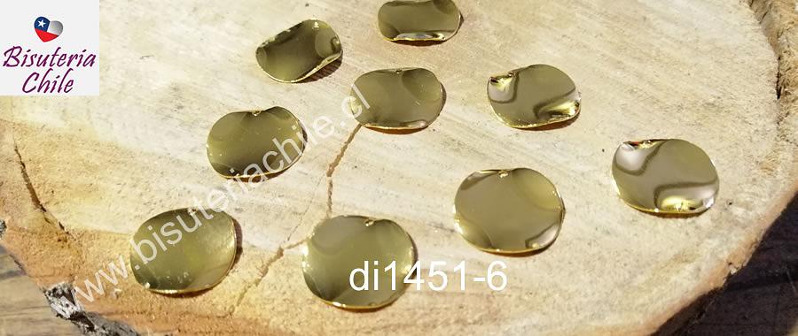 Dijes redondos irregulares, con orificio superior, dorados, 17 mm de diámetro, set de 9 unidades