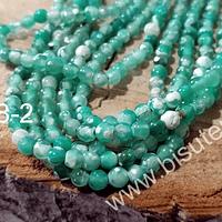 Ágata en tonos verdes de 4 mm, tira de 93 piedras aprox.