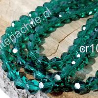 Cristal redondo de 6 mm, color verde, tira de 50 cristales aprox
