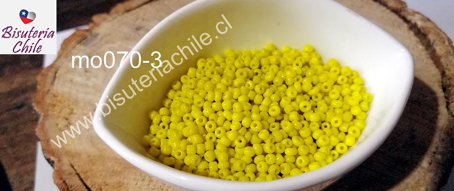 mostacilla amarilla de 8/0 (3mm), set de 50 grs