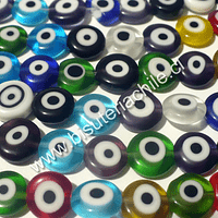 Tira de ojo turco achatado, 8 mm de diámetro y 4 mm de ancho, tira de 48 cuentas aprox.