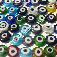 Tira de ojo turco achatado, 6 mm de diámetro y 3 mm de ancho, tira de 62 cuentas aprox.