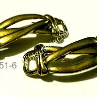 Base pulsera dorada, 40 mm de largo por 10 mm de ancho, set de 2 unidades