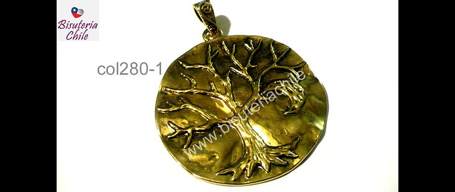 Colgante árbol de la vida dorado, 63 mm de diámetro, por unidad