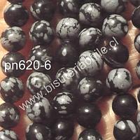 Obsidiana Nevada 6 mm tira de 63 piedras aprox.