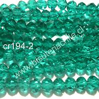 cristal verde  4 mm x 2 mm, tira de 148 cristales aprox