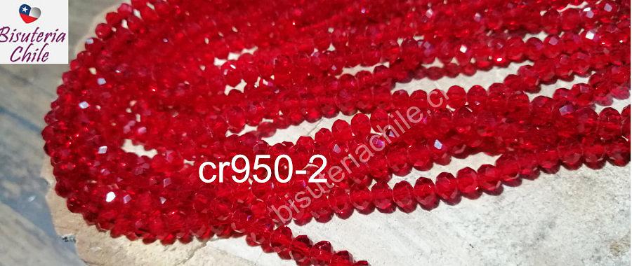 Cristal facetado de 6 mm, color rojo, tira de 95 cristales aprox.