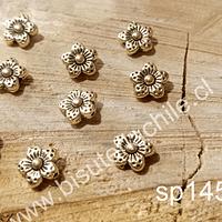 Separador dorado en forma de flor, 9 x 2,5 mm, agujero de 1 mm, set de 9 unidades