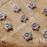 Separador plateado en forma de flor, 9 x 2,5 mm, agujero de 1 mm, set de 9 unidades