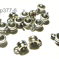 Separador plateado con argolla para dije, 6 mm de diámetro, 4 mm de ancho, agujero de 4 mm, set de 12 unidades