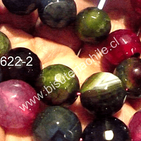 Agatas, Agata 14 mm en tonos rojos, verdes, tira de 13 unidades