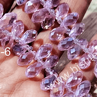 cristal en forma de gota, facetado color rosado, 12 mm de largo por 6 mm de ancho, set de 10 unidades
