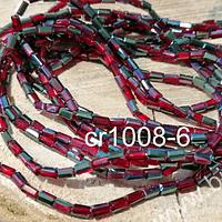 Cristal tubo facetado , color rojo tornasol de 2 x 5 mm, tira de 100 cristales aprox