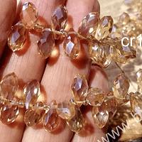 cristal en forma de gota, facetado color café claro dorado, 12 mm de largo por 6 mm de ancho, set de 10 unidades