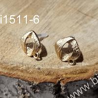Base de aro baño de oro, 14 x 14 mm, por par