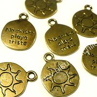 Dije dorado con sol, 15 mm de diámetro, set de 7 unidades