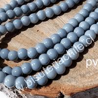 Perla de vidrio gris de 6 mm, tira de 72 perlas aprox