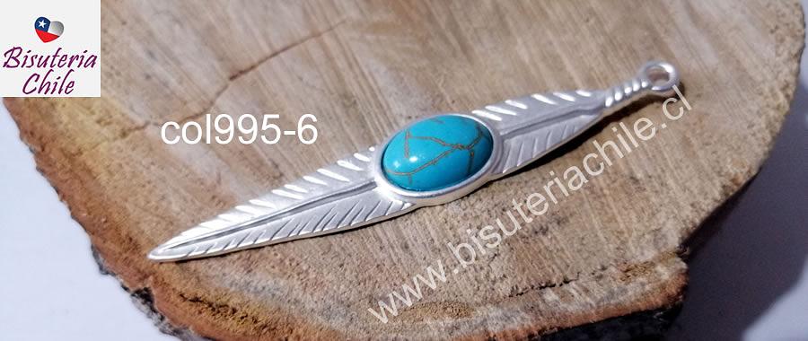 Colgante pluma baño de plata, 90 x 15 mm, por unidad