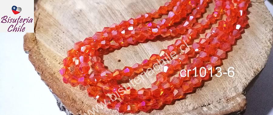 Cristal tupi 6 mm naranja tornasol, tira de 49 cristales aprox