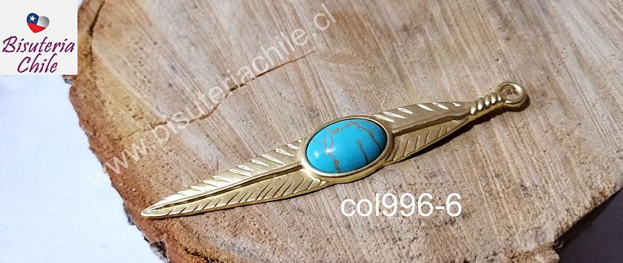 Colgante pluma baño de oro, 90 x 15 mm, por unidad