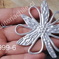 Colgante baño de plata en forma de flor, 65 mm de diámetro, por unidad